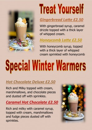 Winter Warmer Specials in Cafe in December