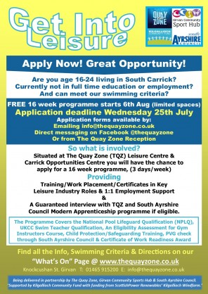 Applications Deadline - ``Get Into Leisure`` FREE 16 week Programme